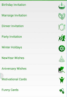 Menu of Whatscard Android app
