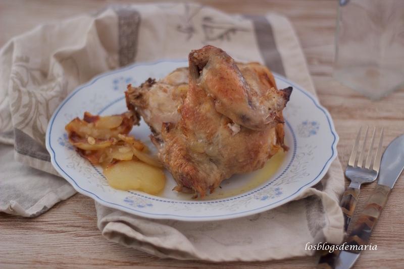 Pollo al limón en el horno con patatas