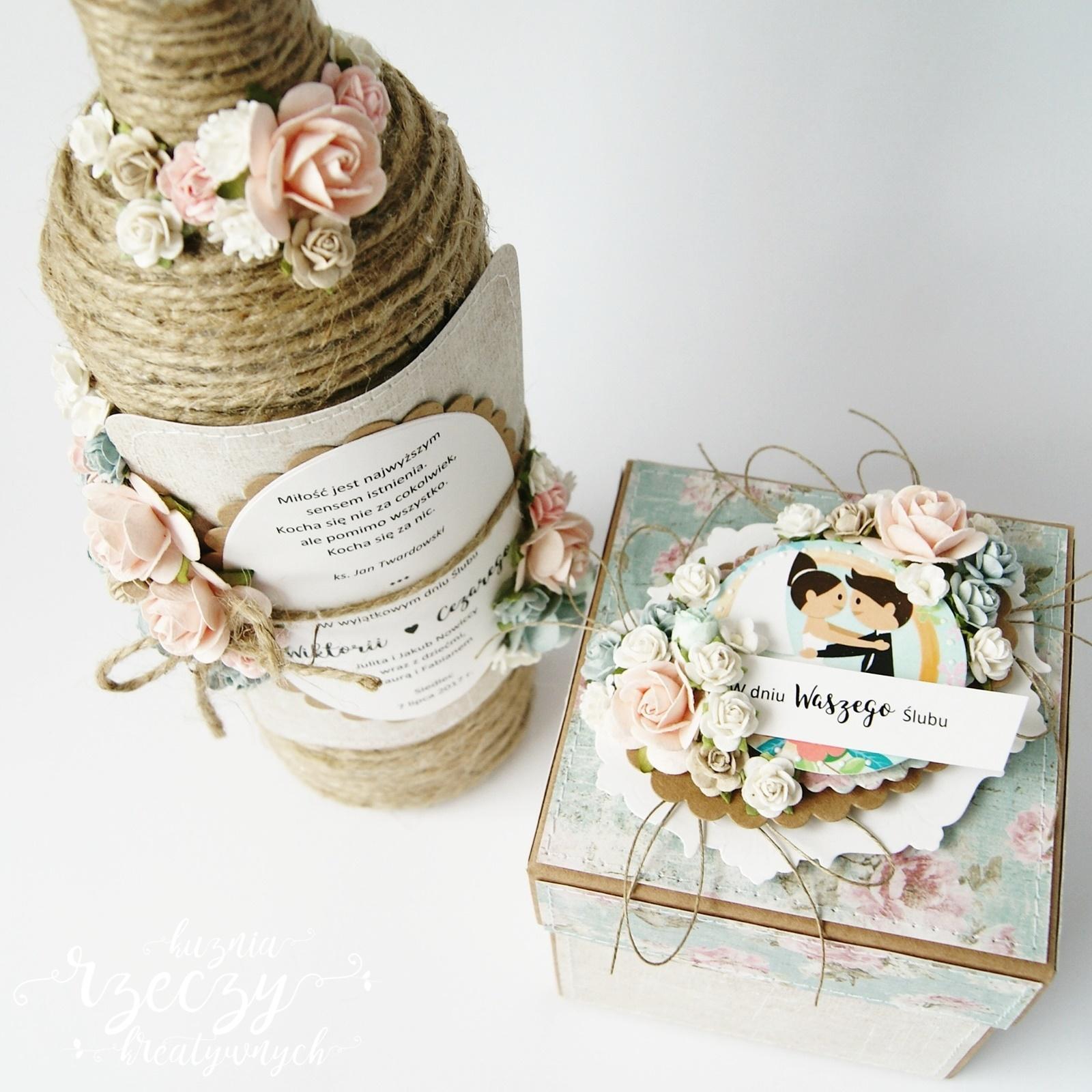 Wyjątkowy, kreatywny exploding box i wino w prezencie ślubnym.
