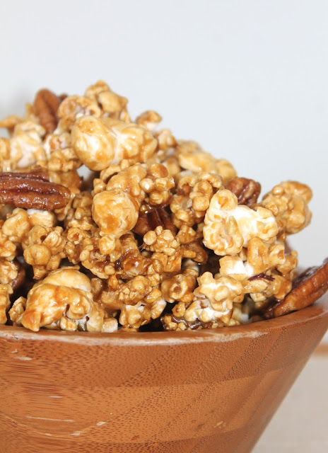 Maple pecan popcorn in a bowl.