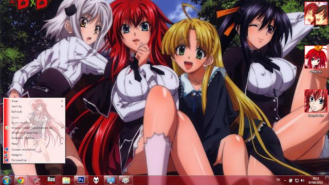 Windows 7 Theme High School DXD by Bashkara
