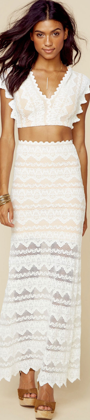 Nightcap Sierra Lace Maxi Skirt in White
