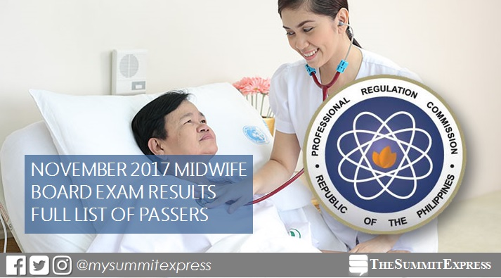 Results November 2017 Midwife board exam passers list, top 10