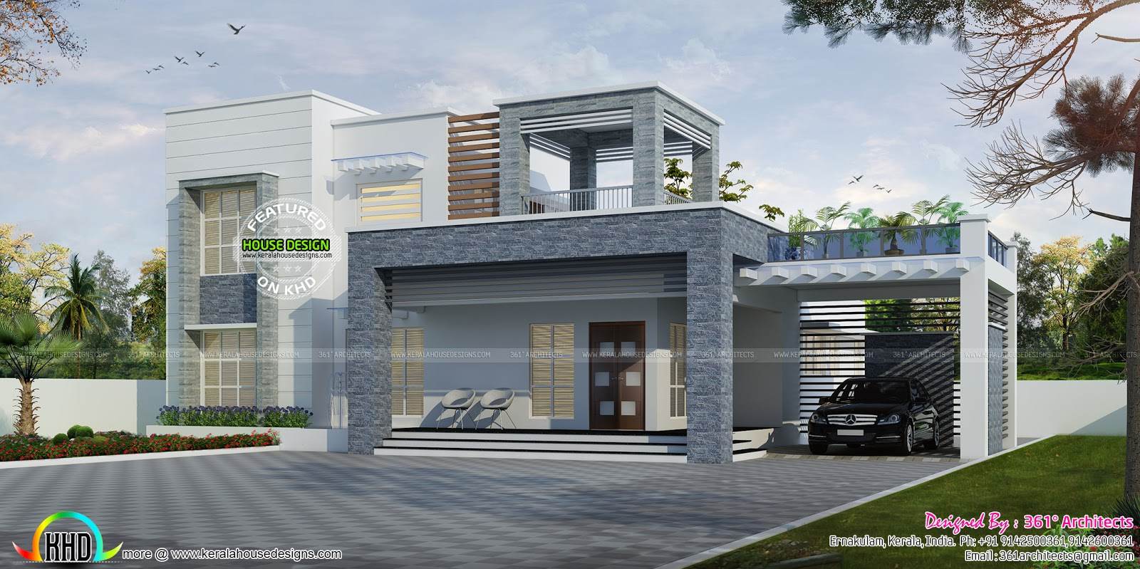 2743 sq ft box type contemporary home kerala home design for Modern box type house design