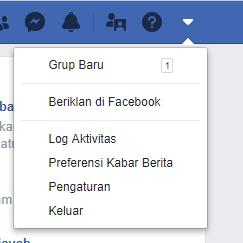 Menu Pengaturan Facebook