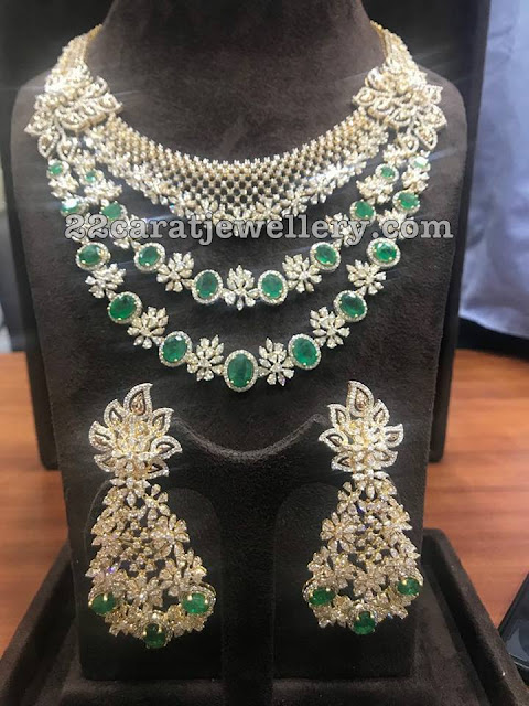 Grand Emerald Diamond Choker Floral Hangings