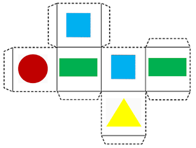Dado da brincadeira Jogo dos retângulos