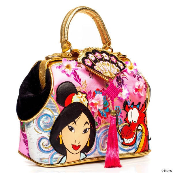 handbag with fan and tassel detail and applique Mulan characters on white background