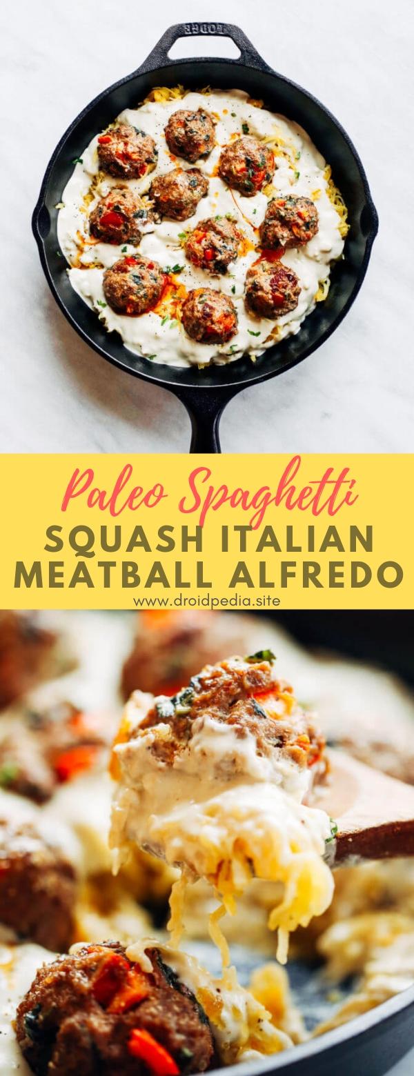 Paleo Spaghetti Squash Italian Meatball Alfredo #maincourse #paleo #spaghettu #squash #italian #meatball #alfredo