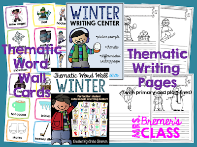 Winter themed Word Wall cards and writing center stationery