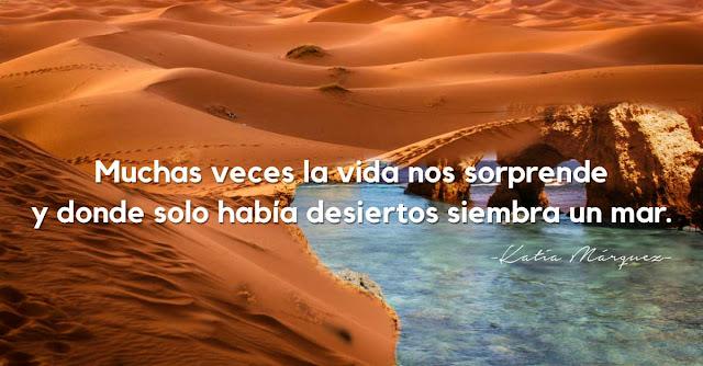 Muchas veces la vida nos sorprende y donde habia desiertos siembra un mar.Katia  Marquez