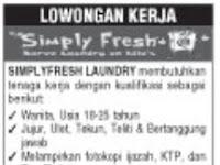 Lowongan Kerja Kasir Simply Fresh Laundry