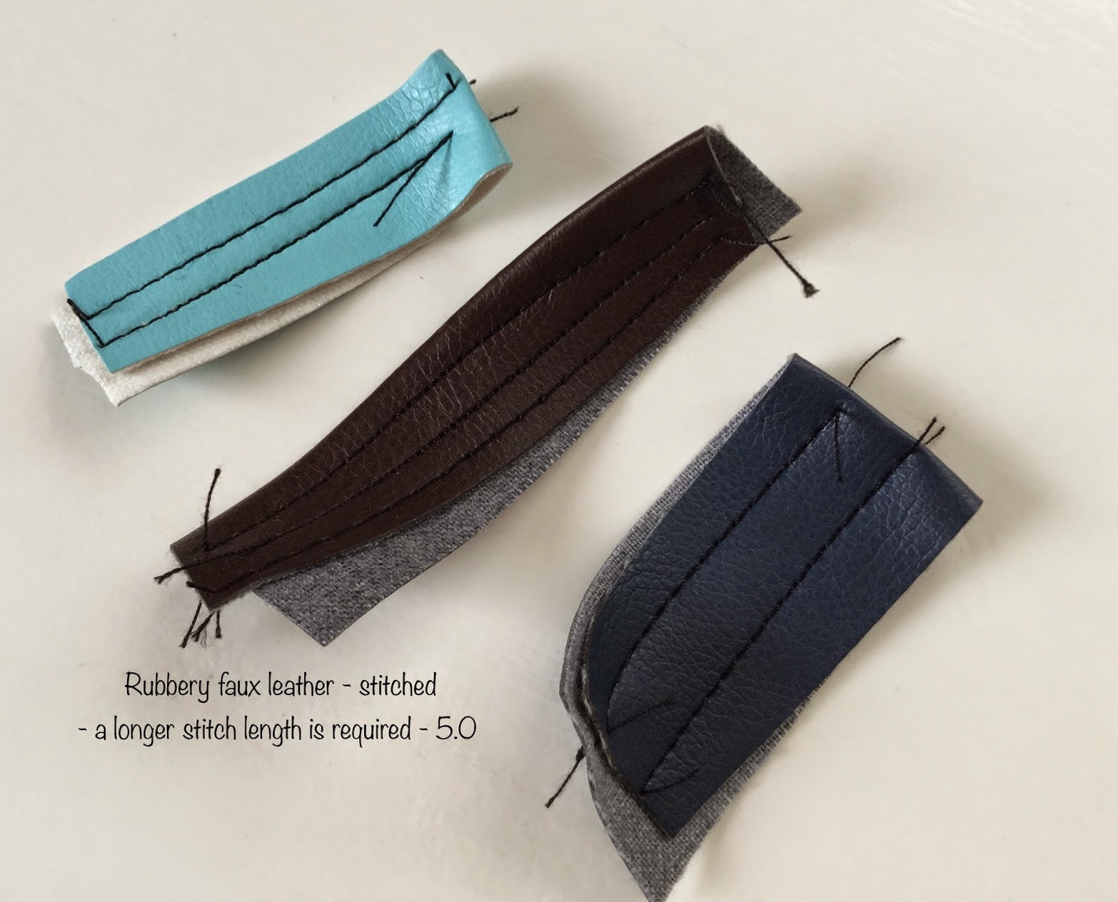 """fa1c7754 If you really have to have one of those """"headache """" kind of faux leather…try  topstitching it through a piece of wax paper."""