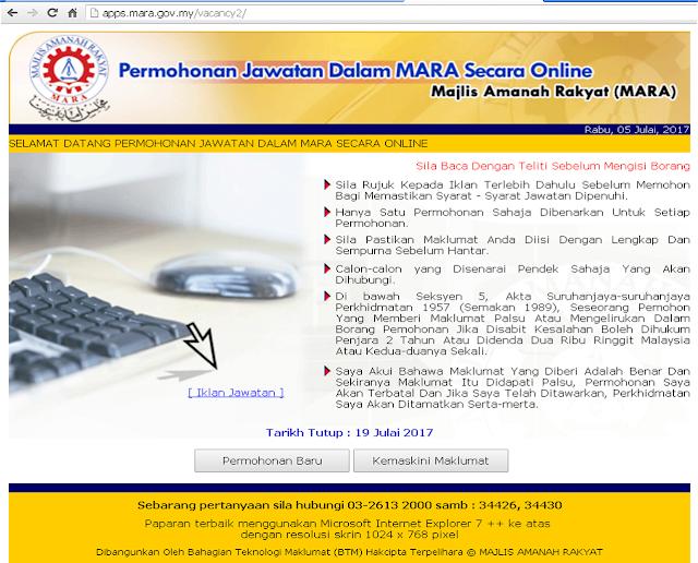 Permohonan Jawatan Dalam Mara Secara Online Job Jawatan Kosong