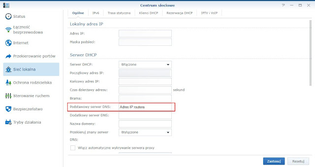 Ustawienie serwera DNS we właściwościach serwera DHCP