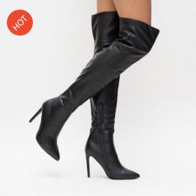 Cizme peste genunchi negre din piele ecologica elegante cu toc