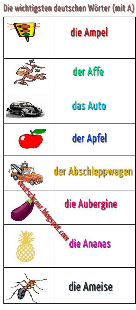 die wichtigsten deutschen w246rter mit a deutsch lernen