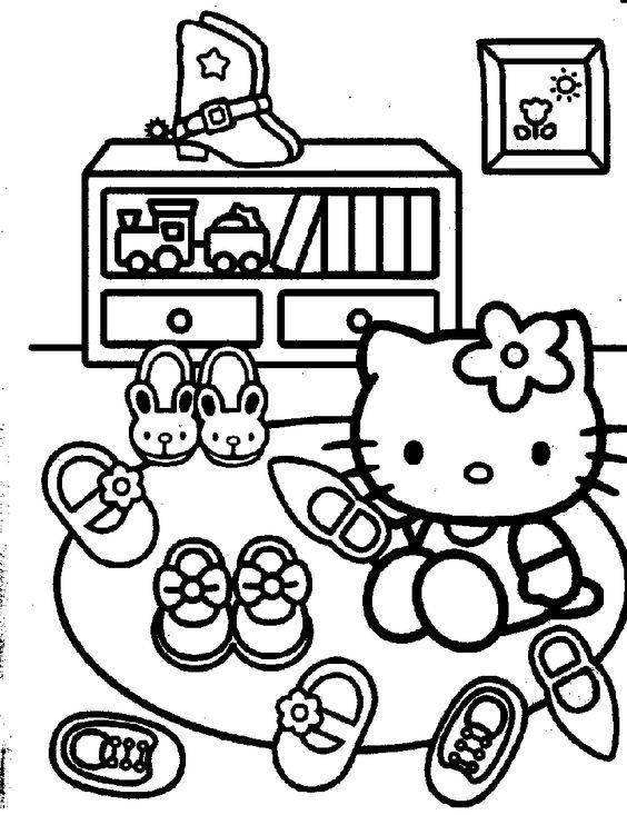 Tranh tô màu mèo hello kitty và những đôi giày