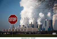 Outdated coal plant, NiederauBem, with stop sign. (Credit: Chromorange/Martin Schroeder/Alamy Stock Photo) Click to Enlarge.