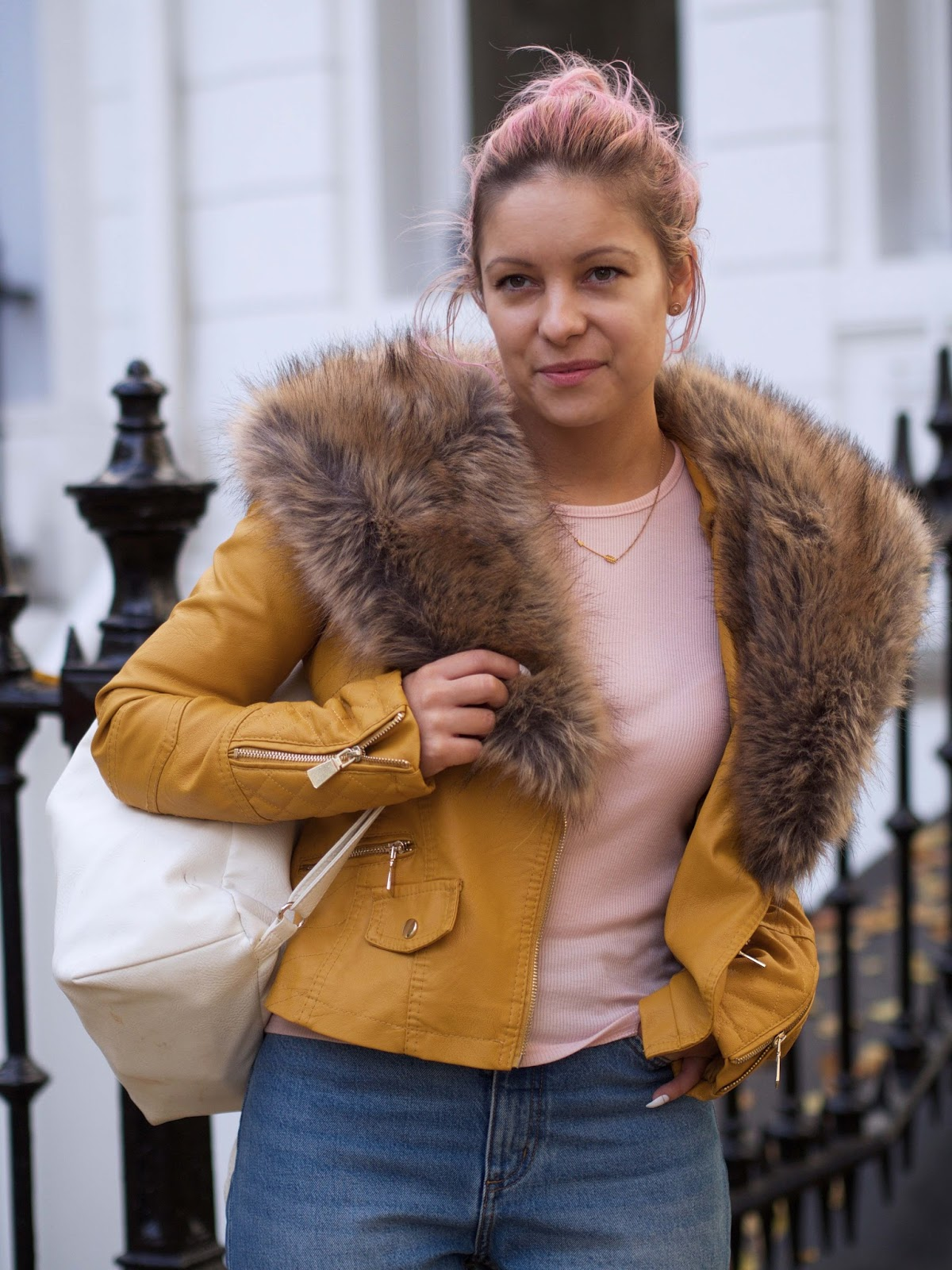 bows boutique camel jacket with fur collar