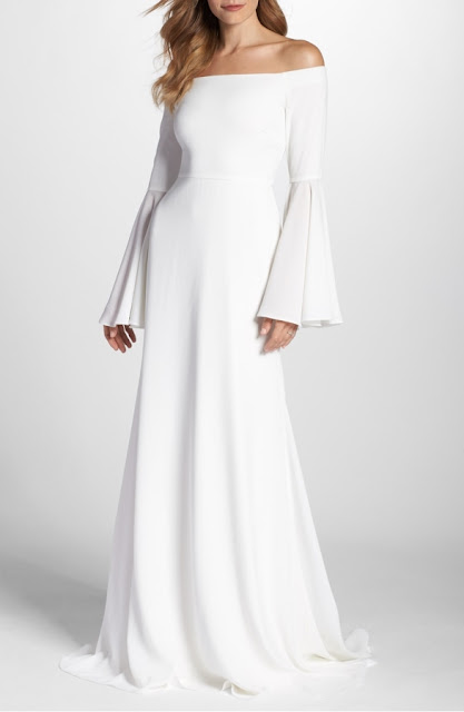 K'Mich Weddings - wedding dresses- off the shoulder bell sleeve gown - Joanna August