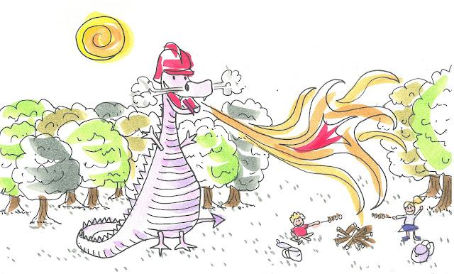 Un dragón echa fuego pero se acaba por convertir en bombero