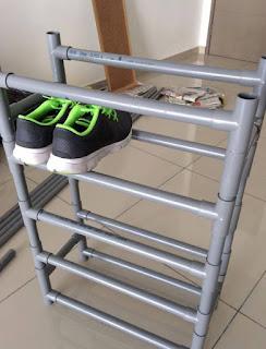 organizador de calzado con tubos pvc
