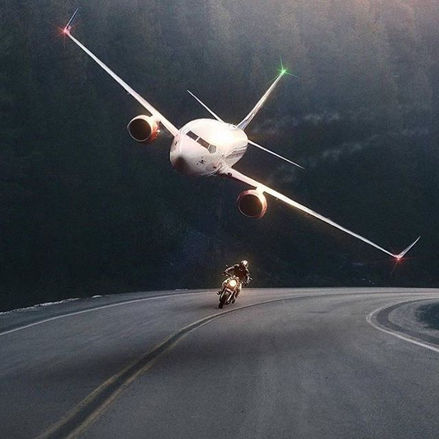 Go Fast, Turn Left - Airliner races motorcycle.