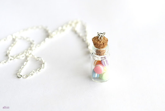 SHIN Handmade Jewelry: Macarons in Glass Bottle Necklace
