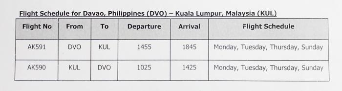 Flight schedule for Davao, Philippines (DVO) – Kuala Lumpur, Malaysia (KUL)