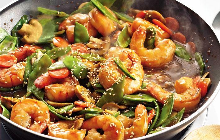 camarones salteados receta