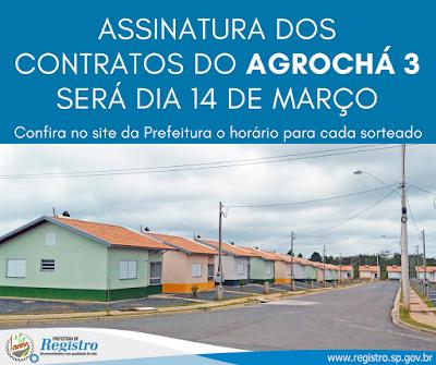 Assinatura dos contratos do conjunto Agrochá III será dia 14/03