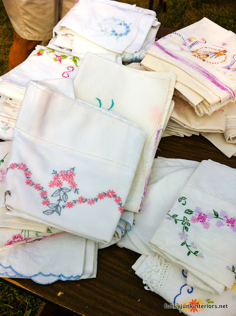 vintage styled white pillowcases embroidered