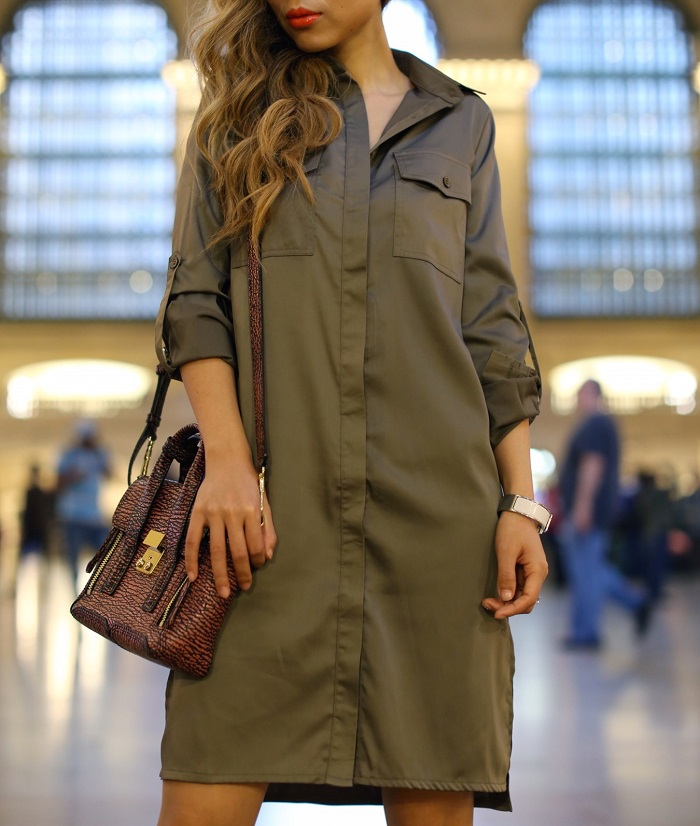 Missguided matte shine shirt dress, shirt dress, street style, grand central, karen walker harvest sunglasess, chanel earrings, 31phillip lim mini pashli, sole soceity sandals, nyc fashion blog
