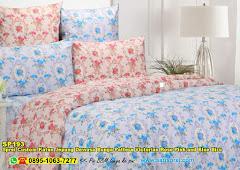 Sprei Custom Katun Jepang Dewasa Bunga Pattern Victorian Rose Pink And Blue Biru