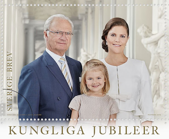 New stamps bearing the portraits of the Royal Couple, Crown Princess Victoria and Princess Estelle will be released on March 17 on the occasion of 40th anniversary of the wedding of King Carl Gustaf of Sweden and Queen Silvia of Sweden