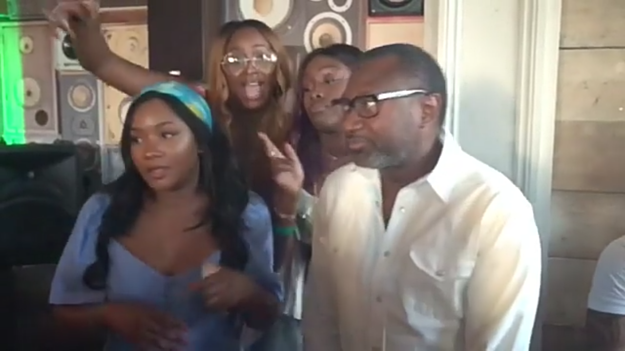 Billionaire, Femi Otedola with his three daughters dancing