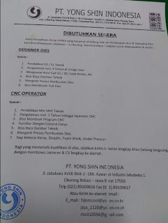 PT. Yong Shin Indonesia Jababeka 1 Cikarang Bekasi