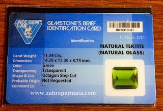 Batu Permata Green Tektite + Mem0 - ZP 257