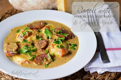 sausage, alfredo, ravioli, pasta, dinner, recipe, sauce, creamy