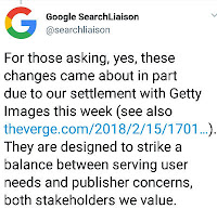 Google response on the Getty Image Lawsuit by removing the 'view image' on the image search result