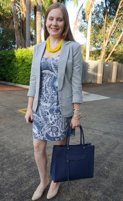 grey jersey blazer, Paisley print sheath dress, nude heels, Rebecca Minkoff MAB Tote for office | awayfromblue