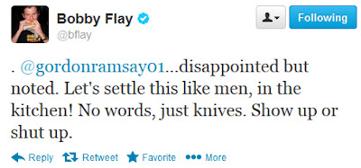 Bobby Flay Tweet to Gordon Ramsay