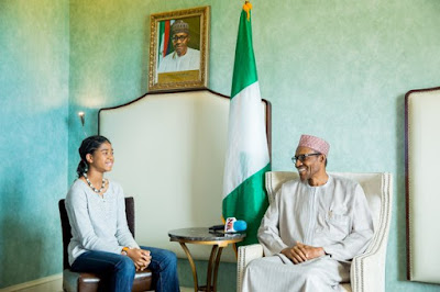 Photographs: President Buhari meets with Zuriel Oduwole. 13-year-old Nigerian movie producer and young lady training advocate