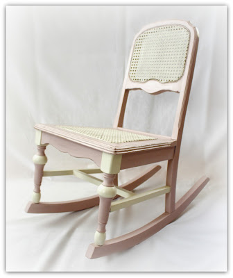 Child's vintage rocking chair painted in Antoinette Pink and Old White