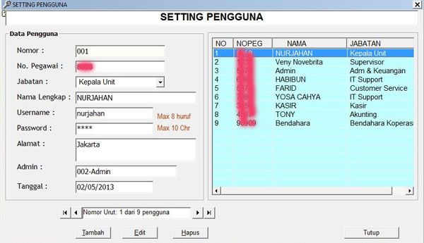 Software Koperasi Karyawan Garuda- Setting User