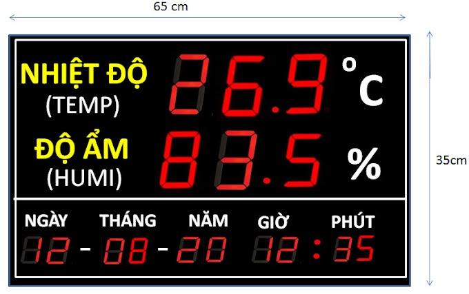 Đồng hồ Led đo nhiệt độ độ ẩm - Ngày Tháng Năm - Thời gian