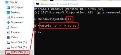 Cara Menghilangkan Virus Shortcut Di Flashdisk dengan CMD