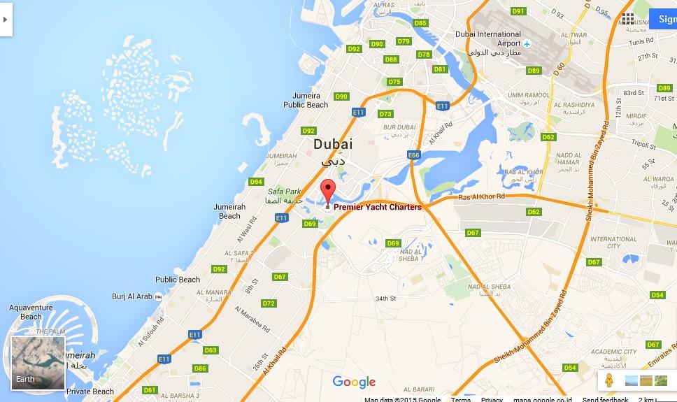 UAE Dubai Metro City Streets Hotels Airport Travel Map Info: Premier Yacht Charters Dubai Map ...