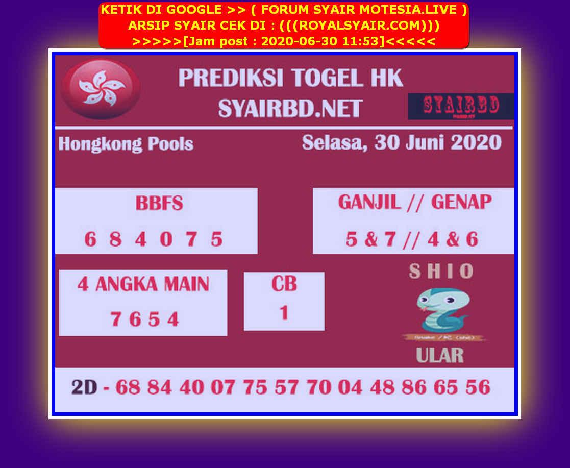 Kode syair Hongkong Selasa 30 Juni 2020 194